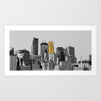 minneapolis Art Prints featuring minneapolis by Mark  Harper