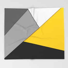 Simple Modern Gray Yellow and Black Geometric Throw Blanket