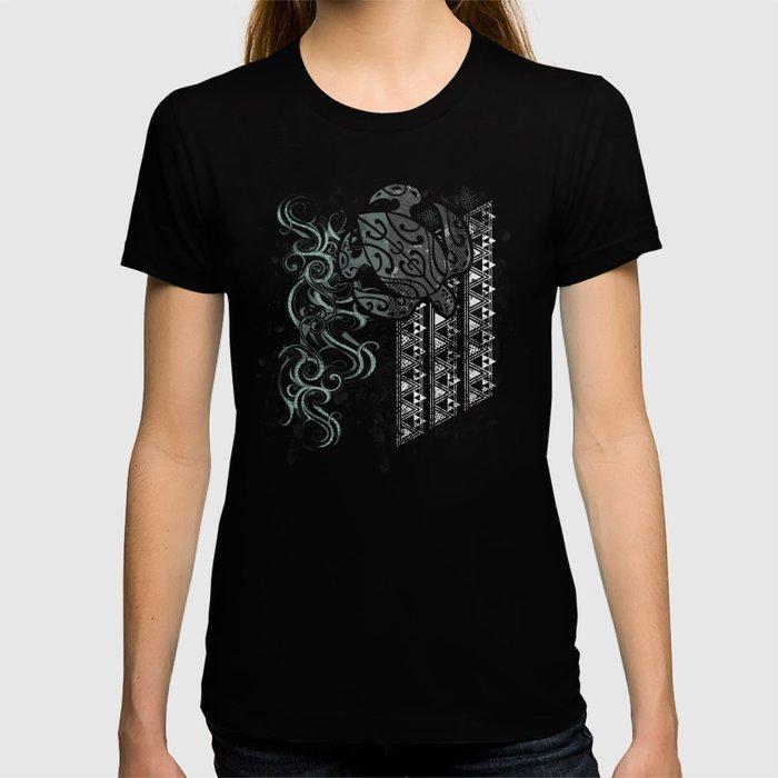 Slate Polynesian Tribal Turtle Grunge T-shirt