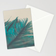 Turquoise Feather Abstract Stationery Cards
