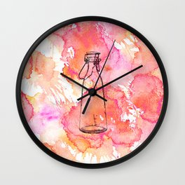 Bottle Pink Wall Clock
