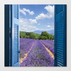 wooden shutters, lavender field Canvas Print