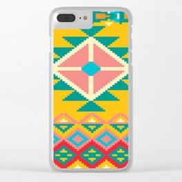 Yellow Native Aztec Clear iPhone Case
