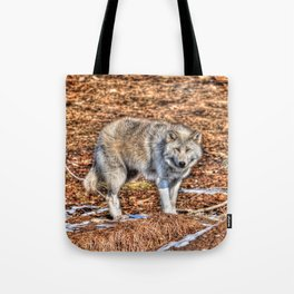 Arctic Wolf and Pine Tundra Tote Bag