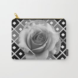 Art Deco White Rose Black-White-Grey Art Carry-All Pouch