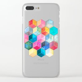 Crystal Bohemian Honeycomb Cubes - colorful hexagon pattern Clear iPhone Case