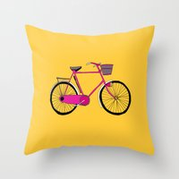 bicycle Throw Pillows featuring Bicycle  by bluebutton studio