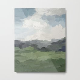 Sky Blue and Forest Green Rural Country Farm Land Nature Abstract Painting Art Print Wall Decor  Metal Print