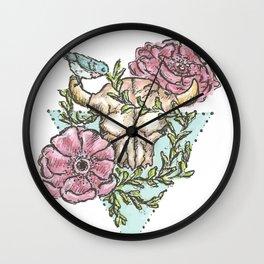 Flowery Animal Skull 01 Wall Clock