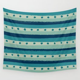 Cool Blue Dots & Stripes Wall Tapestry