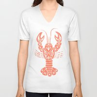 lobster V-neck T-shirts featuring Lobster by NoelleGobbi