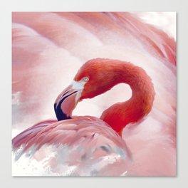 Flamingo portrait watercolor digital painting Canvas Print