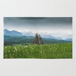 Sunset in the mountains Rug