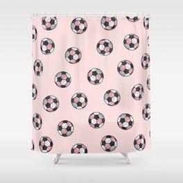 Girly Pink Gray Glitter Foil Soccer Ball  Pattern Shower Curtain
