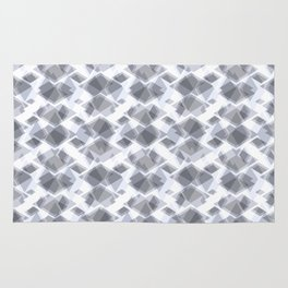 Geometric grey, white pattern. Rug