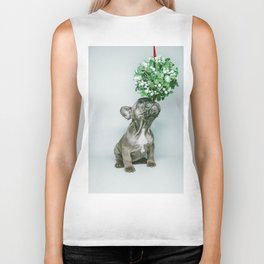 Christmas Pup Under Mistletoe (Color) Biker Tank