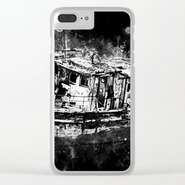 old ship boat wreck ws bw Clear iPhone Case