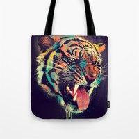 tiger Tote Bags featuring FEROCIOUS TIGER by dzeri29
