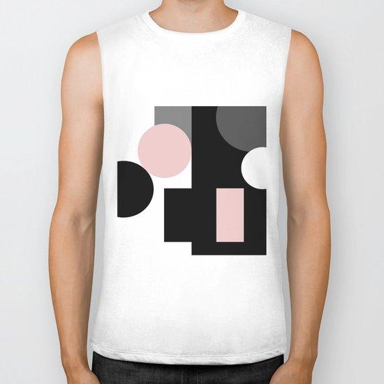 An abstract geometric pattern . Geometric shapes . Black pink white pattern . Biker Tank