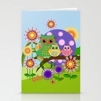 bebop Stationery Cards featuring Owls, Flowers Fantasy design by thea walstra