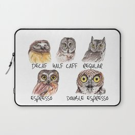 Owl Caffeine Meter -  funny owl coffee Laptop Sleeve