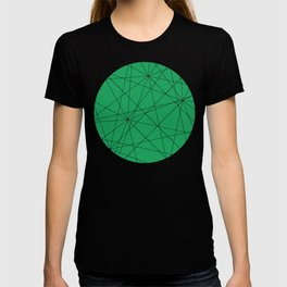 Fractal pattern of black intersecting lines on a lush green background. T-shirt