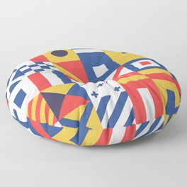 Maritime Nautical Signal Flags Mosaic Pattern Floor Pillow