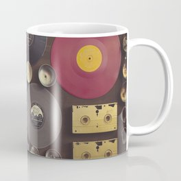 Music. Vintage wall with vinyl records and audio cassettes hung. Coffee Mug