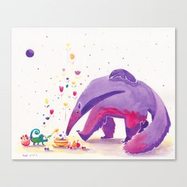 Giant Anteater Print, Anteater Art with Chameleon Canvas Print