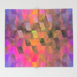 Stacked Sky (magenta-coral-ochre) Throw Blanket