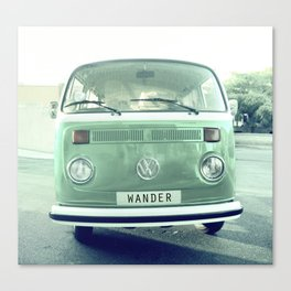 Vintage Wander van. Summer dreams. Green Canvas Print