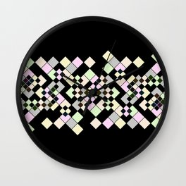 Abstract geometric pattern. Small colored squares on black. Wall Clock
