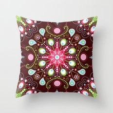 Pointillism mandala   Brown, red and green Throw Pillow