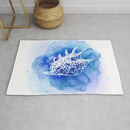 Blue Abstract Watercolor Seashell Rubber Stamp on White 6 Minimalist Coastal Art Rug