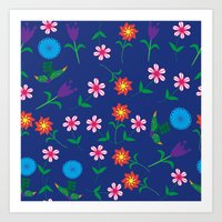 floral pattern Art Prints featuring Floral pattern  by luizavictoryaPatterns