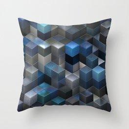 Artistic Cubes 09 blue Throw Pillow