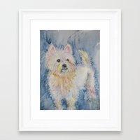 westie Framed Art Prints featuring Cute Westie by Gina Rahman