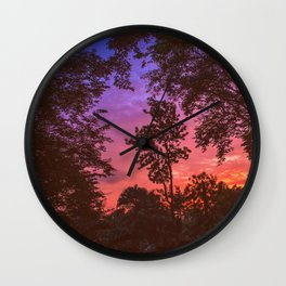Sunset Trees Wall Clock
