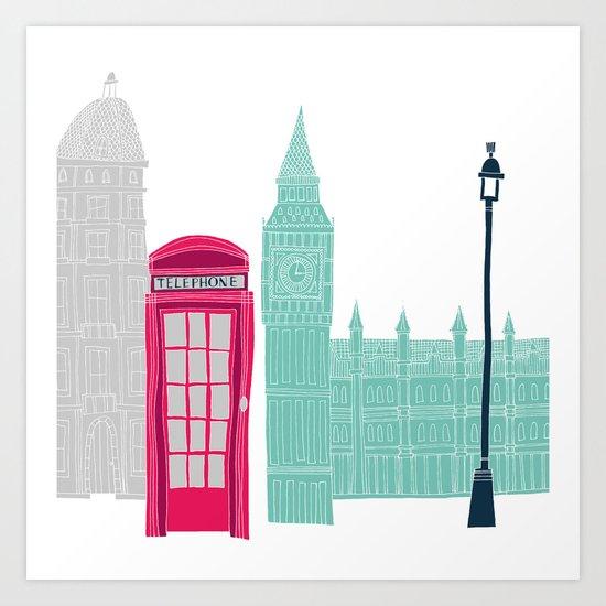 London Red Telephone Box (pink) Art Print