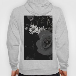 Summer flowers POPPIES, DAIRIES, CORNFOWERS #2 b&w Hoody