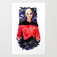 picard Art Prints featuring Captain Picard Day by Lady Yate-xel