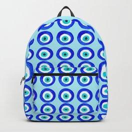 Evil Eye Amulet Talisman - on turquoise Backpack