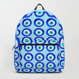 Evil Eye Amulet Talisman - on turquoise Backpack