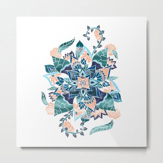 Modern coral blue watercolor floral illustration  Metal Print