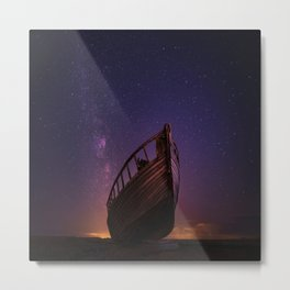 boat under a starry sky Metal Print