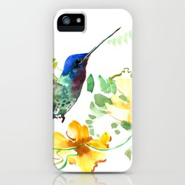 Hummingbird and Flowers, floral design Hawaiian tropical iPhone Case