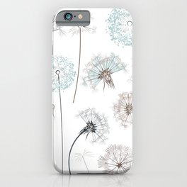 Hand drawn vector dandelions in rustic style iPhone Case