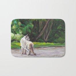 Cat Adventure by the Hydrangea &Trees Bath Mat