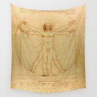 da vinci Wall Tapestries featuring Leonardo da Vinci - Vitruvian Man by Elegant Chaos Gallery