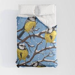 Blue tit birds in winter Comforters